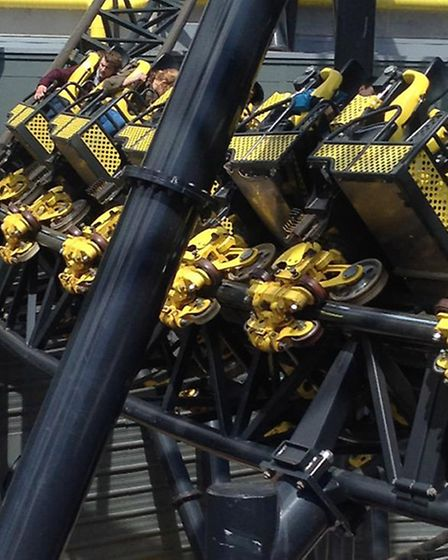 Alton Towers amusement park's Smiler rollercoaster after four people were seriously injured in a col