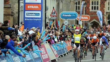 Crowds at the finish line of The Women's Tour 2014