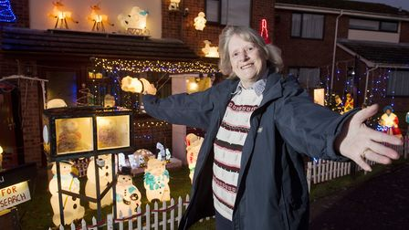 Sue Sanford is raising money for Cancer Research with her Christmas lights in Harleston. Picture: Ni