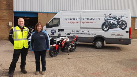 Ipswich Rider Training owner Ros Jones and instructor and business manager Graham Carey.