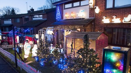 Every year Sue Sanford's home in Harleston is decorated to raise money for charity. Picture: Nick Bu