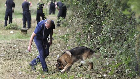 Police searching near the scene where Nahid Almanea's body was found on Salary Brook Trail in Colche