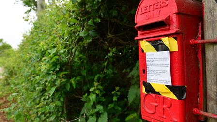 The post box on Gedgrave Road in Orford which has been closed due to birds nesting for the second ye