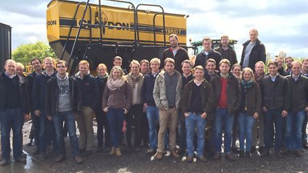 Part of the group of students from the German DLG Academy during their visit to Claydon Drills at Wi