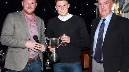 AFC Sudbury assistant boss, Andy Reynolds, manager's player of the year Ben Robinson and chairman Ph