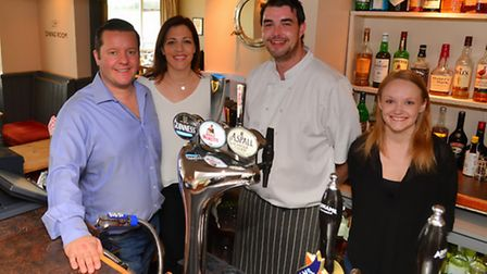 Left to right: Max and Polly Durrant, chef James Mee and Natasha Gladwell at the Ramsholt Arms which