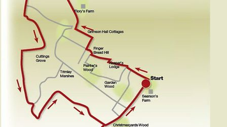 The route around Trimley Marshes