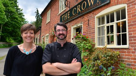Cheryl and Richard Andrews who have re-opened the The Crown in Great Glemham