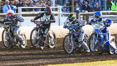 From the left Lewis Kerr, Craig Cook, Simon Nielsen and Leigh Lanham leave the start in the opening
