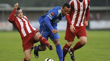 Jordan Patrick, centre, in action for Bury Town