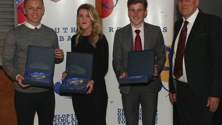 Representative team Players of the Year Jack Newman (under-18s), Marcie Prettyman (ladies) and Dan K