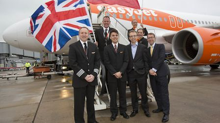 Neil Slaven, UK commercial manager at easyJet, centre, left, and Mark Suter, head of business develo