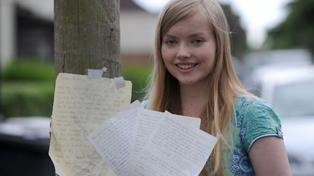 Emily Mason, a student at King Edward School in Bury, has been leaving supportive letters around the