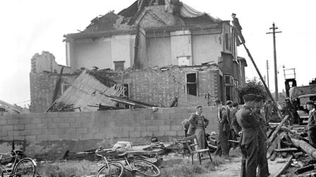 The badly damaged house at 54 Myrtle Road, Ipswich, in June 1949. The house was hit by a De Havillan