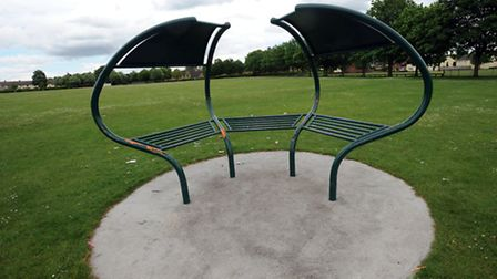 The 'mushroom' shaped shelter for teenagers which has had its roof ripped off in an act of vandalism