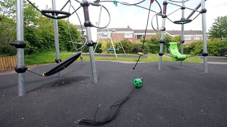The damaged play equipment at the play area on the Horringer Court estate in Bury.