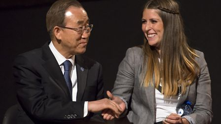 Angela Tolliday with UN Secretary General Ban Ki-moon in Brussels