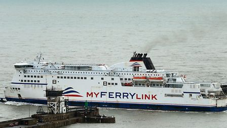 The MyFerryLink ferry Berlioz leaving the Port of Dover.