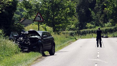 Police at the scene of an accident on the A143 between Bury and Great Barton following the crash tha