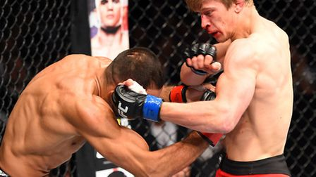 Arnold Allen, right, lands a punch on Alan Omer at UFC Fight Night in Berlin