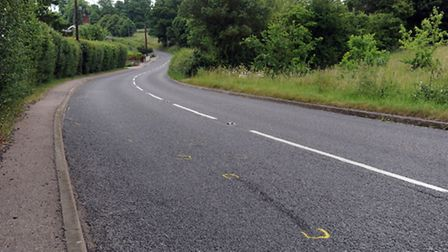 The A1141 in Cockfield which was the scene of an accident on Friday.