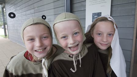 Children enjoy Anglo Saxon costumes at Sutton Hoo in Woodbridge. Photo: National Trust Images/Ian Sh