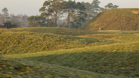 View looking across the burial mounds at Sutton Hoo. Photo: National Trust Images/Joe Cornish