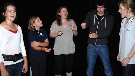 Russell students rehearsing for their show, 'GlobalWarnNing', during their five-day workshop at Sudb