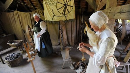 The Kentwell Hall wool day in Long Melford. Ray Almond 'Julian' (left) and Honor Ridout 'Margaret By