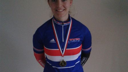 Tanya Griffiths with her Masters National jersey after victory in London