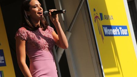 Woman's Tour Launch in Bury St Edmunds. Singer Laura Wright opens the event.