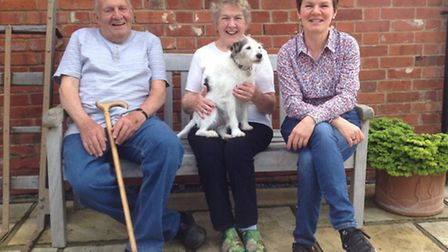 David and Josie Baker, with daughter Davina and Buster the dog. 'We all muck in together, really,' s