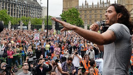 Russell Brand speaks at the End Austerity Now rally in Parliament Square, London. PRESS ASSOCIATION
