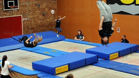 The 24 hour charity bounce-a-thon at Mid Suffolk Leisure Centre in Stowmarket.