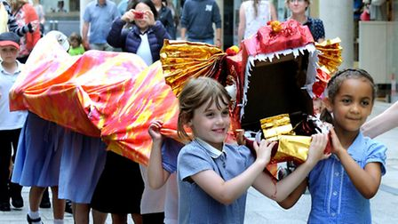 Celebrating the first ever Dragon Festival at West Stow with a parade through Bury St Edmunds on Wed