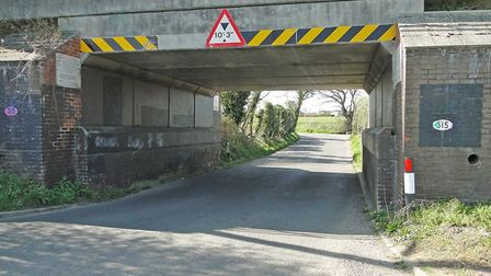 The railway bridge at Walcott Green in Diss where Network Rail will be replacing a missing section d