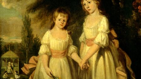 Jane and her elder sister Ann, a picture painted by their father Isaac in their Lavenham garden