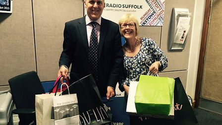 Mark Cordell with Lesley Dolphin at BBC Radio Suffolk launching the Retail Therapy initiative.