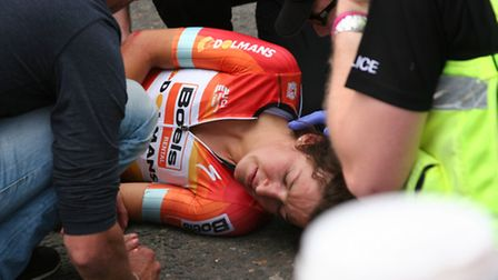 Crash at the finish line of The Women's Cycle Tour in Aldeburgh, involving lead rider Lizzie Armitst
