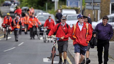 Employees at the Royal Mail Depot in Moorside Colchester return to work after the depot was evacuate