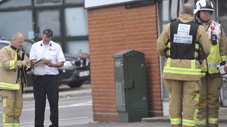 Essex Fire officers investigate at the Royal Mail Depot in Moorside Colchester that was evacuated fo