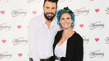 Diss Slimming World consultant Rowena Mason meet TV personality and presenter Rylan Clark-Neal. Pict