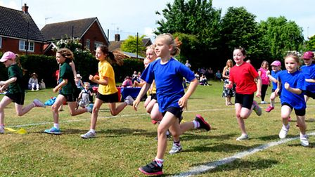 Pupils at Sir Robert Hitcham Primary School in Framlingham take part in their sports day representin