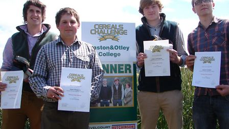 The Cereals Challenge 2015 winners from Easton and Otley College: Adam Mann, Ryan Thompson, James Cu