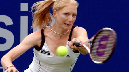 Amanda Janes in action against Akiko Morigami during the DFS Classic tournament in Edgbaston `10 yea