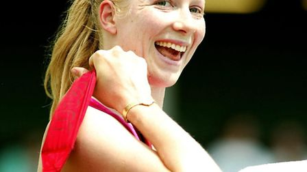Amanda Janes smiles after beating Jie Zheng at the Hastings Direct International Championships in Ea