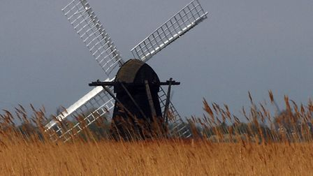 A cormorant perches on one of the sails on Herringfleet windmill on the Norfolk Broads