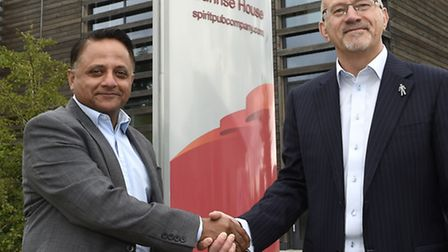 Greene King chief executive Rooney Anand, left, with Mike Tye, chief executive of the Spirit Pub Com