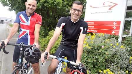 Keith Everitt and Andy Clarke are taking part in the Prudential Surrey to London 100 mile bike ride