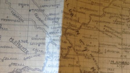 One of the maps of Italy Pat Boston drew, after copying details from a chld's atlas